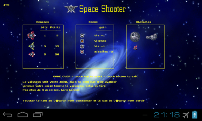 splashscreen du jeux space shooter